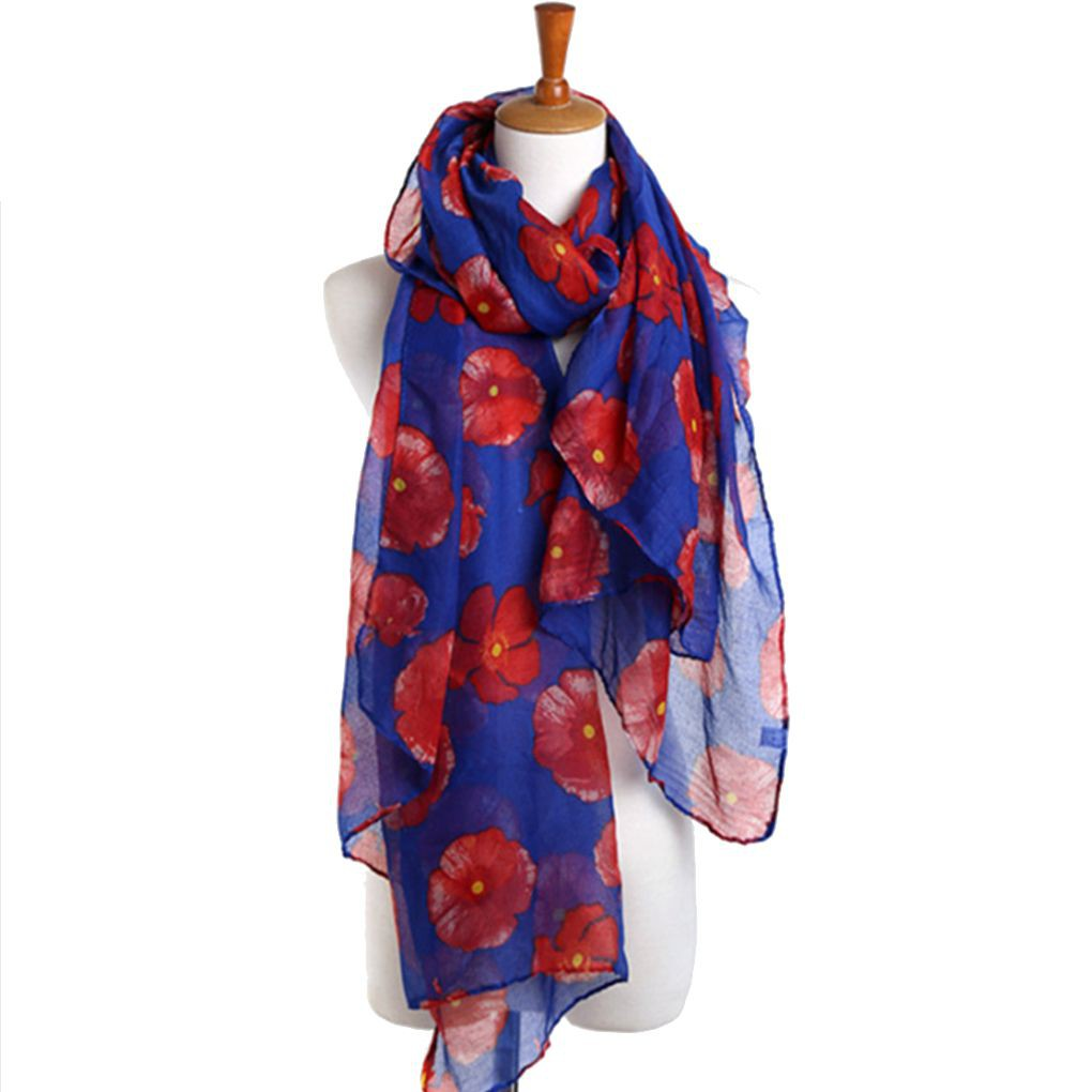 Womens poppy flower printed viscose maxi neck strong wrap scarf