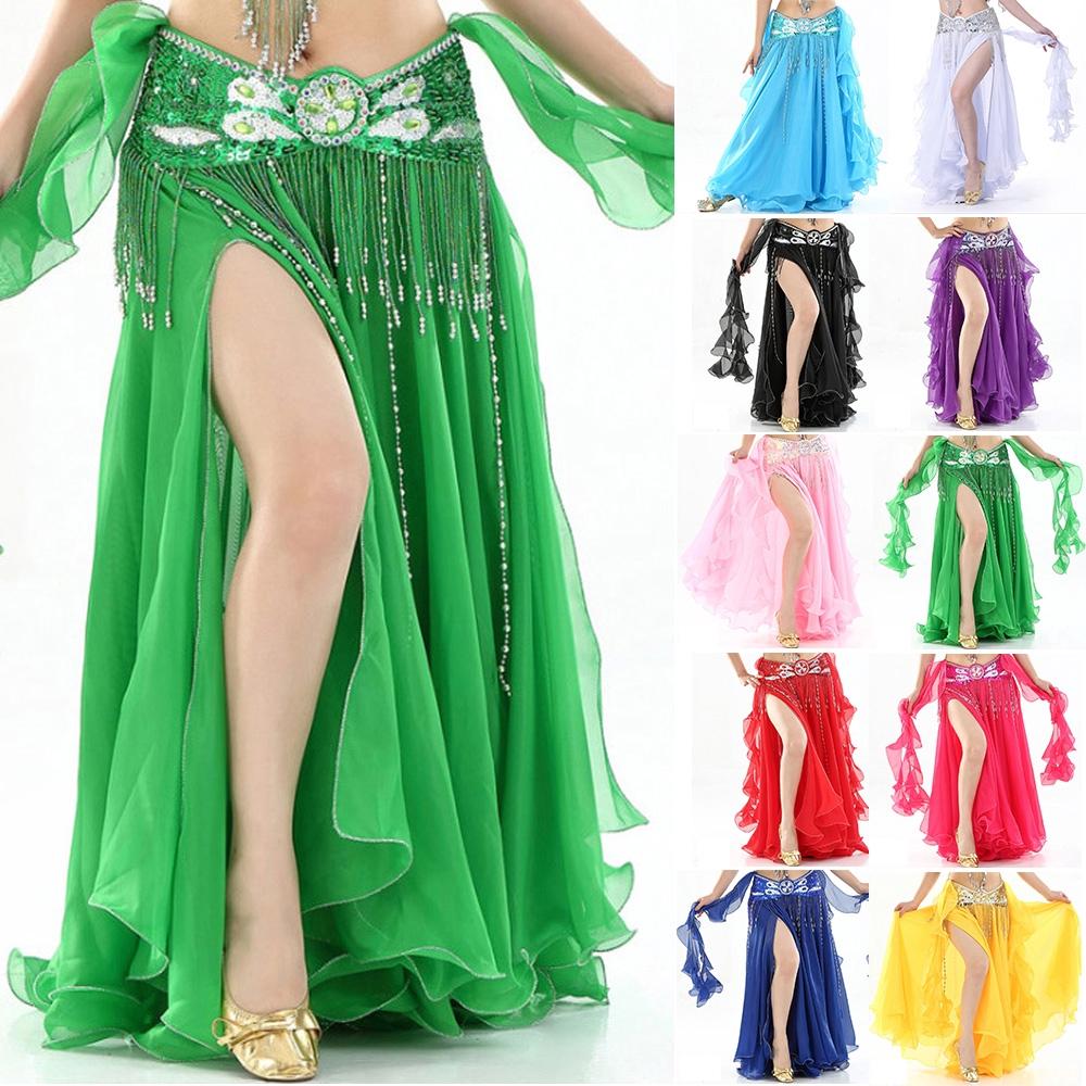 a9a5cb126f 10 colors Belly Dance Jupe Jong Maxi Chiffon Bohemia Women Sexy Ruffle skirt