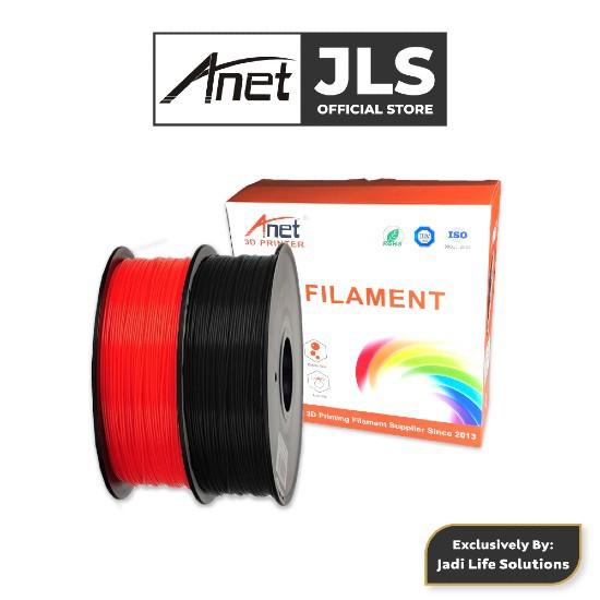 Anet 340m 1.75mm PLA 3D Printing Filament Biodegradable Material Red Black Jadi Life Solution