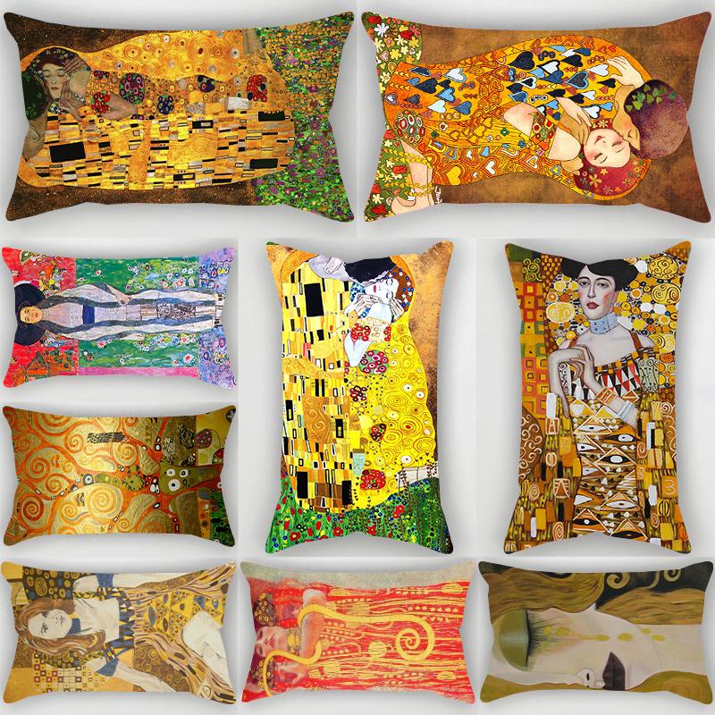 Vintage Gustav Klimt Kiss Pattern Print Polyester Rectangular Pillow Case Sofa Car Bedroom Decor Pillow Covers Without Pillow Inner 30x50cm Shopee Malaysia