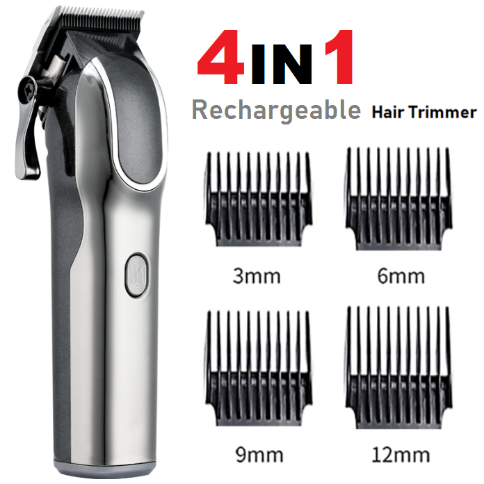 Rechargeable Electric Hair Trimmer Clipper Shaver Ceramic Titanium Blade Beard Razor Kit with LCD Power Display Screen