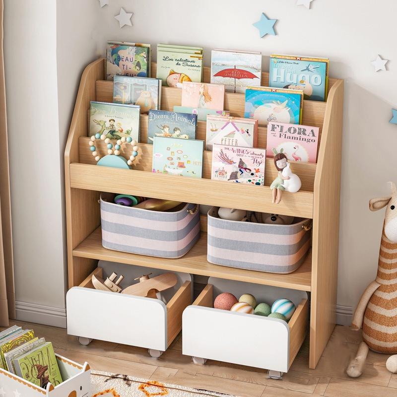 GDeal Bookshelf Children Book Rack Simple Kindergarten Storage Rack Floor Standing Small Book Shelf