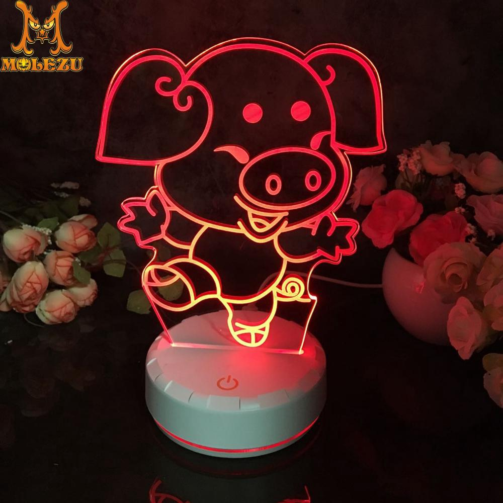 Led 3d Night Light Pig Pattern Figure Nightlight For Child Bedroom Decor Desk Lamp 16 Color With Remote Shopee Malaysia