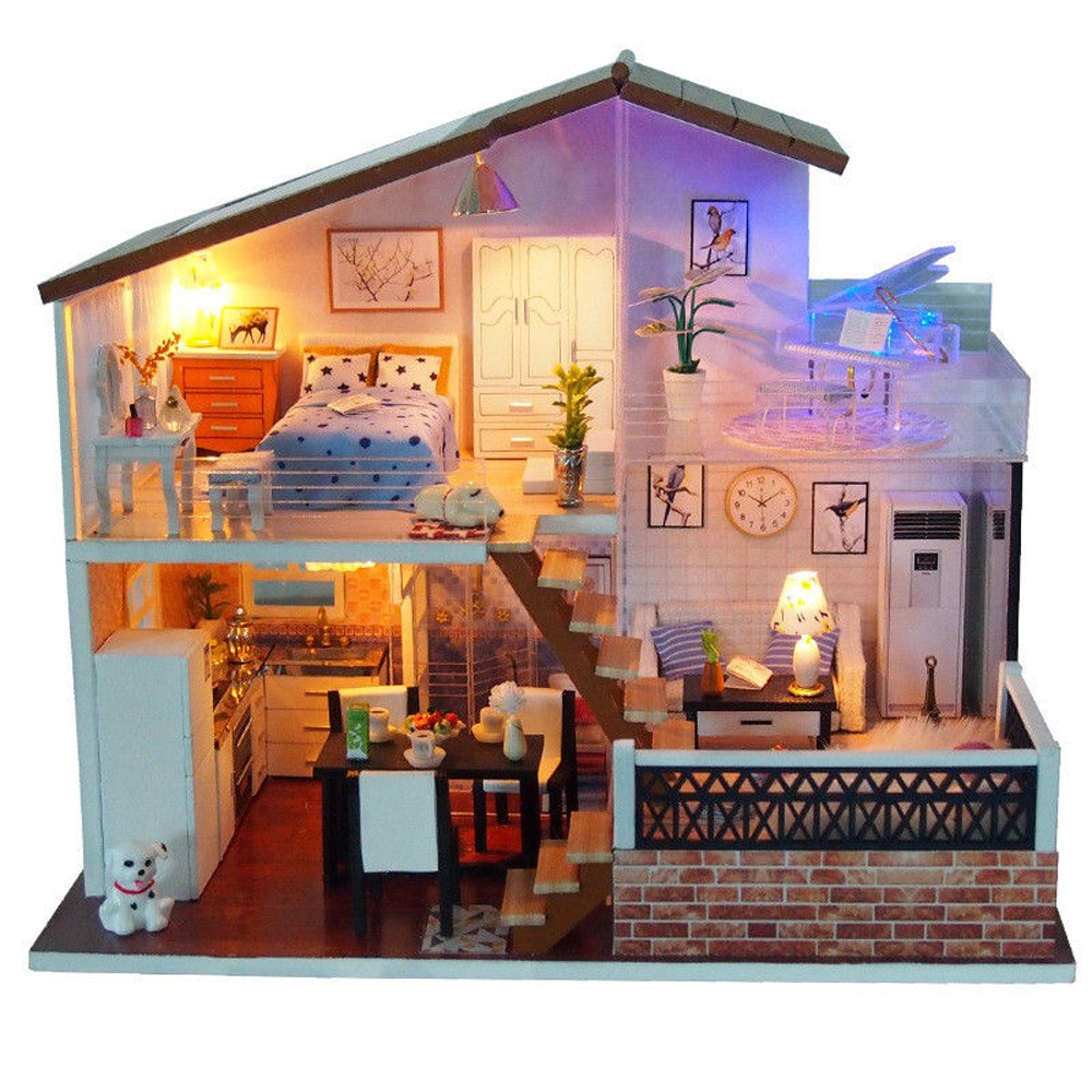New Diy Miniature Dollhouse Furniture Set W Dust Cover Led Miniatures Doll Houses Hy Kitchen
