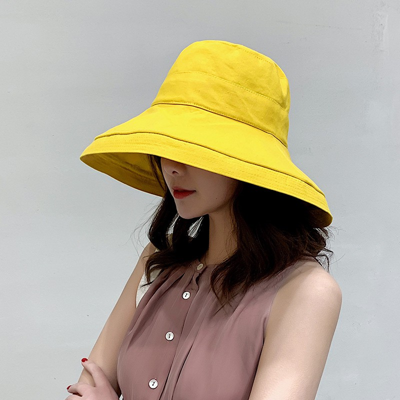 2a999a935 Sun Hat Anti-UV Cotton Summer Hat For Women Vacation Wide Brim Beach Hat  Foldable Bucket Hat large Brim Cap