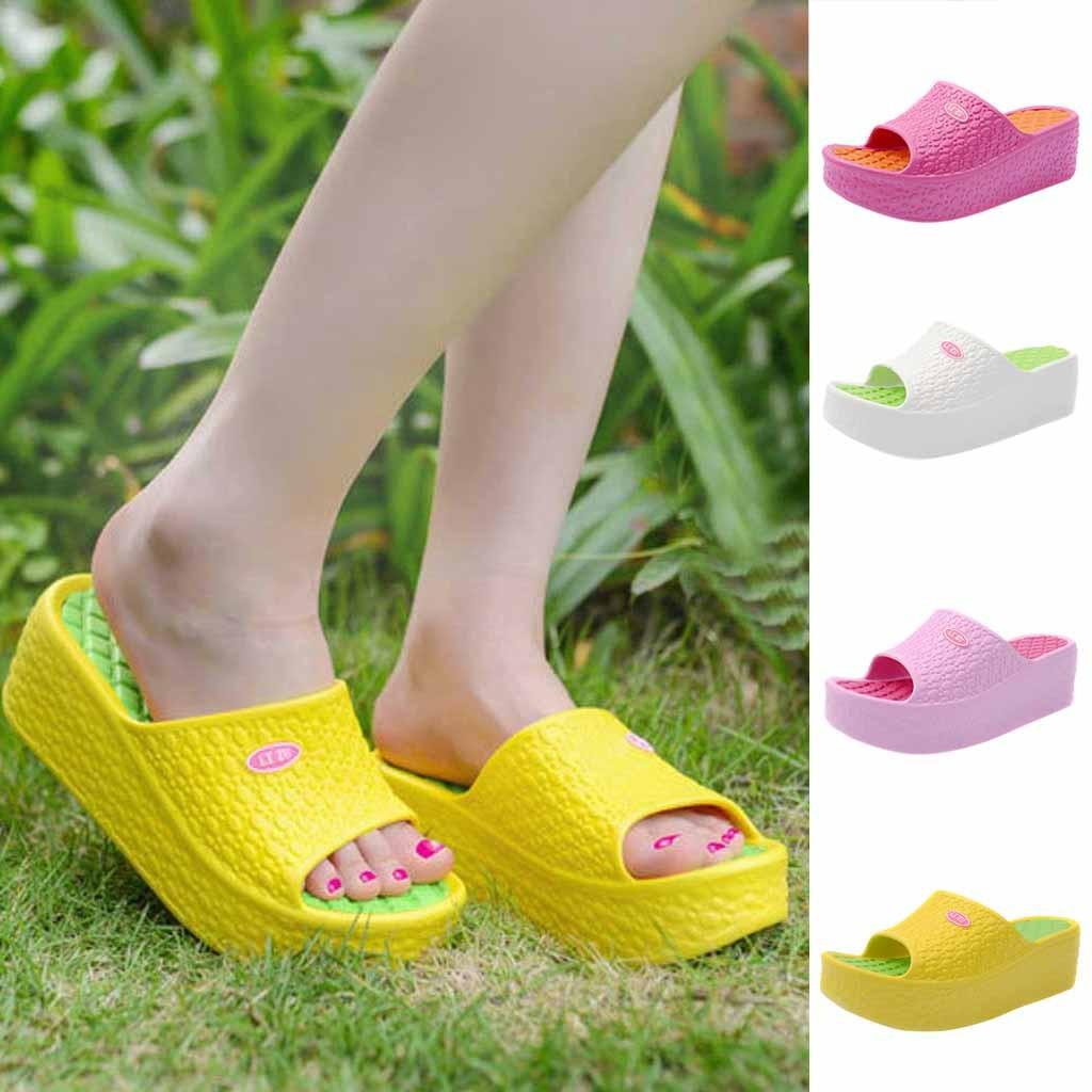 4ac2e9716e22 Summer Sandals Flip Flops Slippers Sandals Swing Wedge Women Beach Hole  Shoes