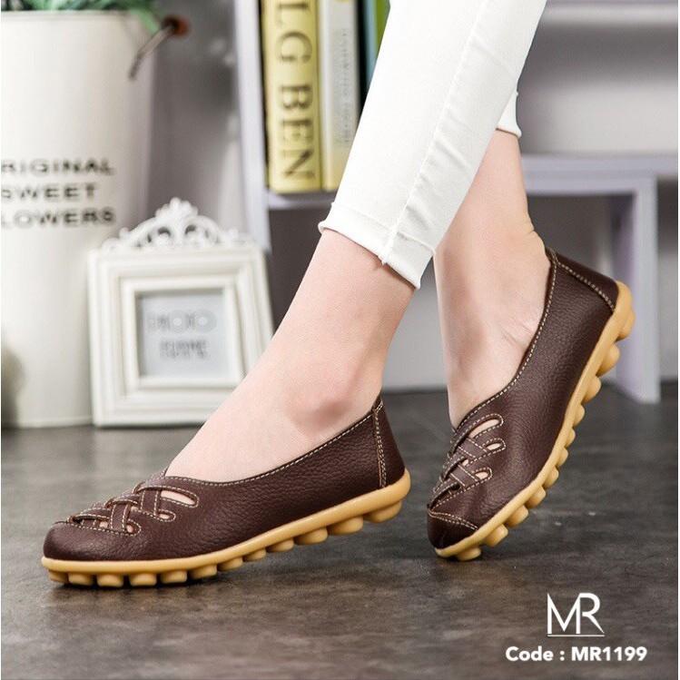 Meritshoes 1199 น้ำตาล รองเท้าคัทชูหนังแท้ พื้นยางพา
