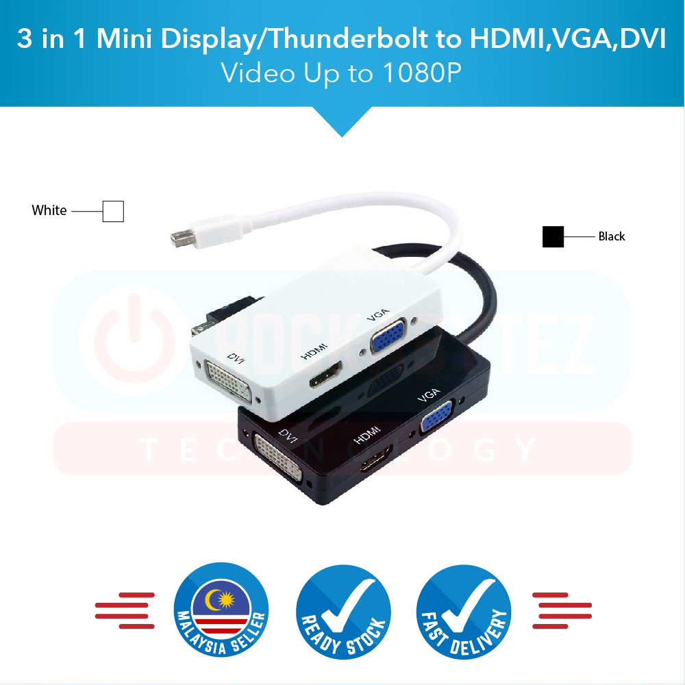 3 in 1 Mini Display/Thunderbolt Port to HDMI VGA DVI Display Port Cable  Adapter