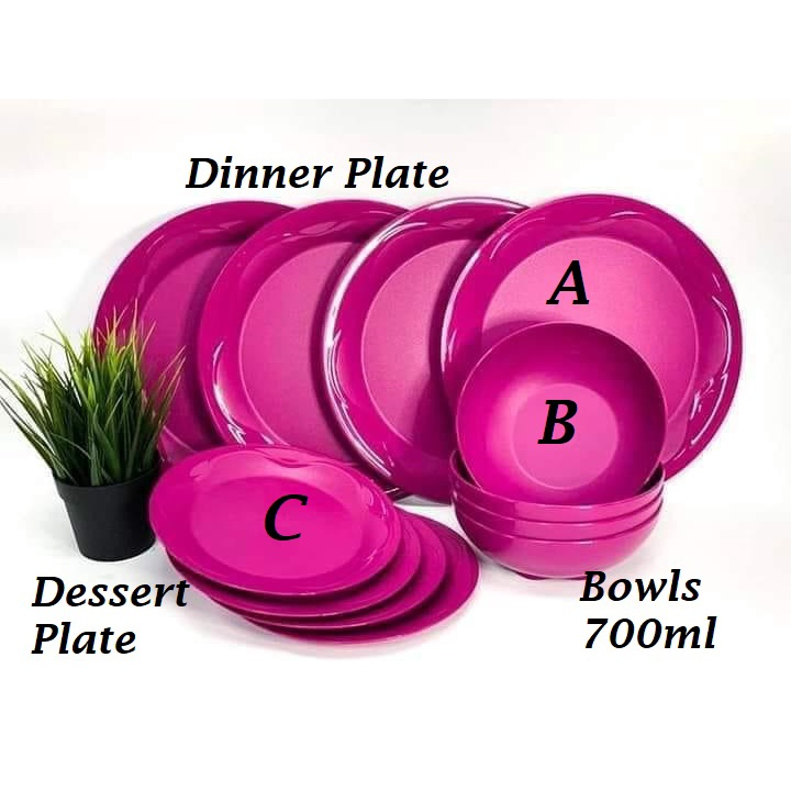 *4pcs/12pcs*Tupperware Camellia Collection Dining Serveware Set / Dining Plates / Bowls 700ml / Dessert Plate
