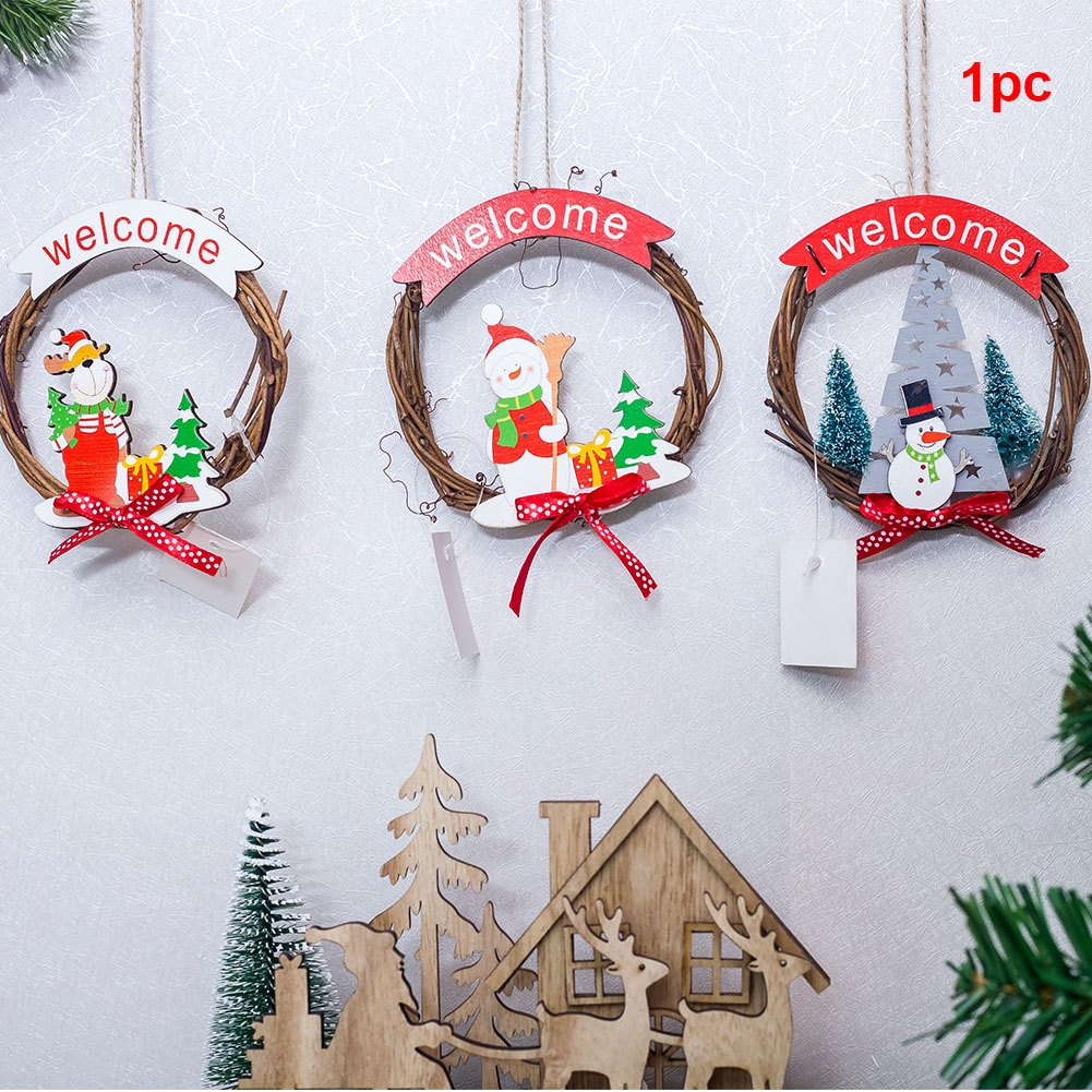 Essential Christmas Decorations.Hangings Ring Pendant Rattan Wreath Craft Santa Christmas Decoration