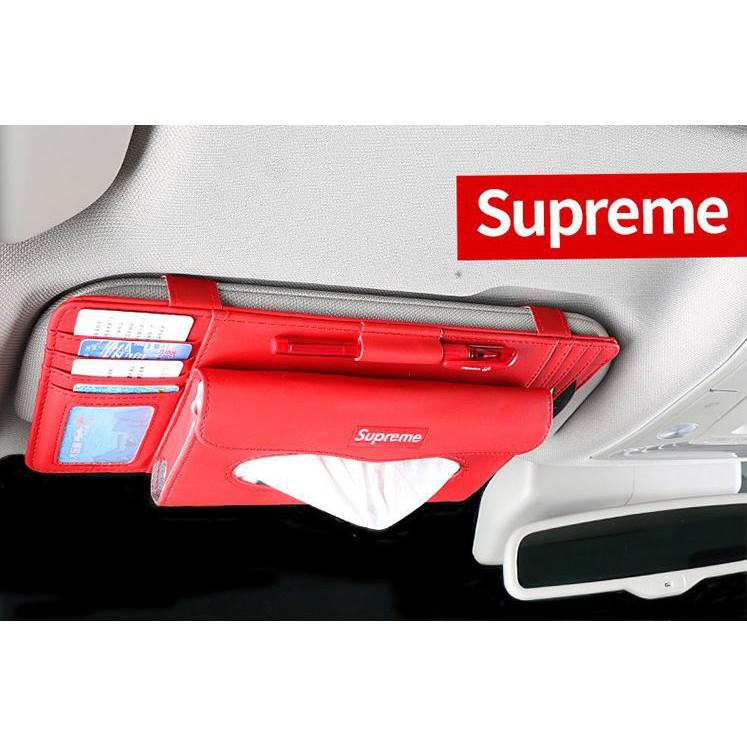 Multi-function sun visor tissue box