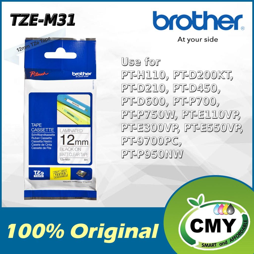 Brother Original TZe-M31 12mm Black on Matt Clear D200KT D210 D450 D600 P700