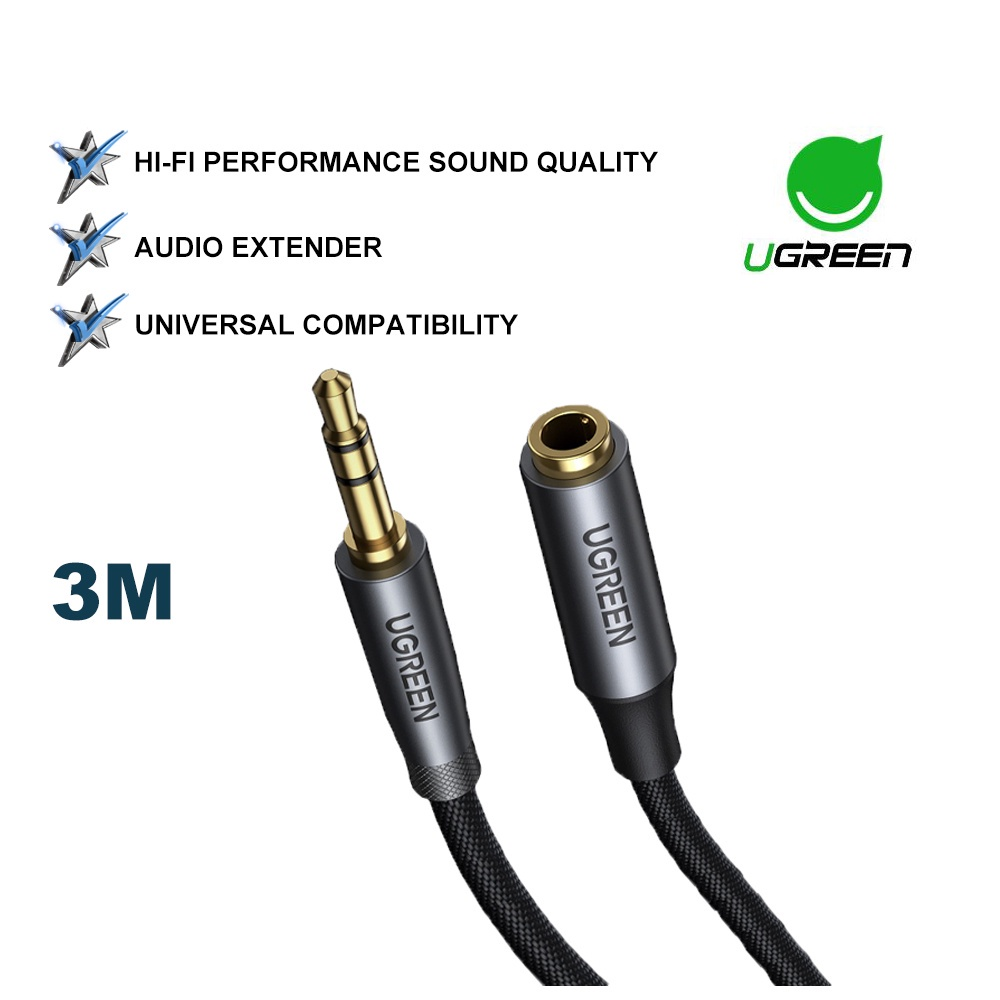 UGREEN Audio Stereo Extension Audio Cable 3.5mm AUX Jack Male to Female Cord Professional HiFi Phones Headphones Speaker