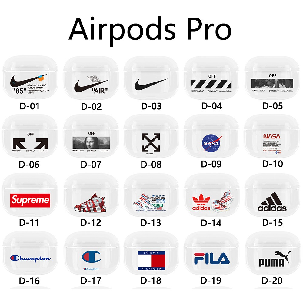 Airpods Pro Case Hard Transparent Cover Brand Nasa Air Jordan Nike