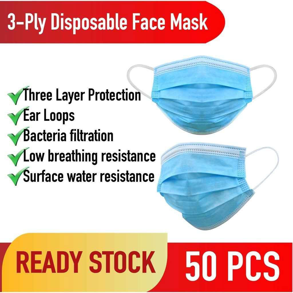 Malaysia Ready Stock Disposable Face Mask 3-Ply (50's/Box) [Random Box]