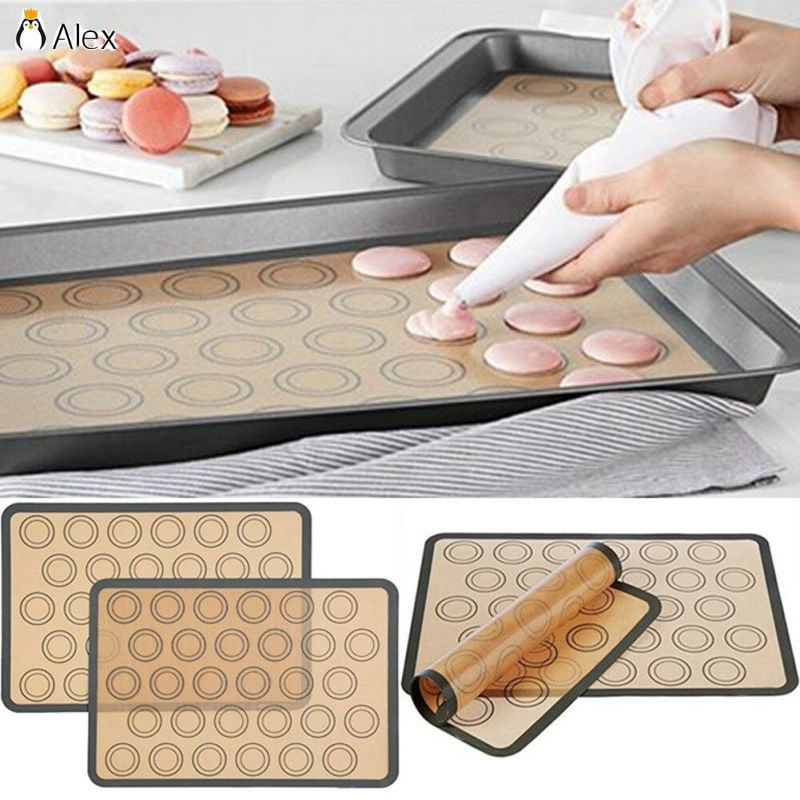 2Pcs 30 Silicone Macaron Macaroon Pastry Oven Baking Mould Sheet Mat DIY Mold UK