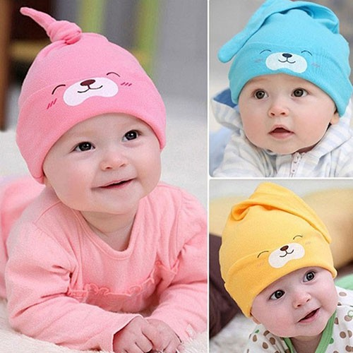 Newborn Baby Boys Girls Beanie Knotted Cotton Hat Soft Cap Infant Toddle Hat FY