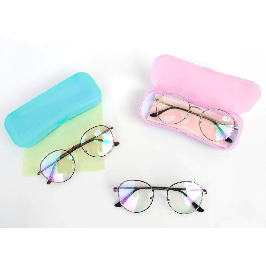 แว่นสายตาสั้น -0.5ถึง-4.0 ทรงหยดน้ำ แถมกล่องใส่แว่นหลากสี+ผ้าเช็ด