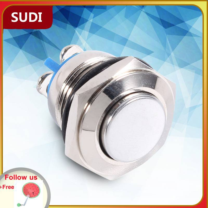 🔥Big Sale🔥12V Car Waterproof Momentary Metal Push Button ON OFF Horn  Switch Starter Silver