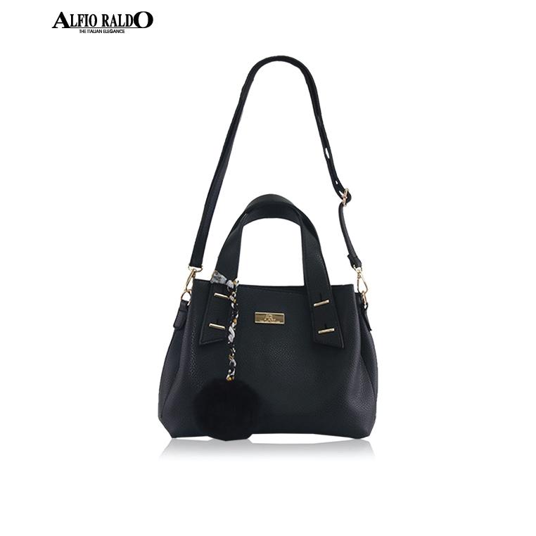 AR by Alfio Raldo Formal Black Metal Strip Handle Tote Shoulder Bag with Furry Hanging