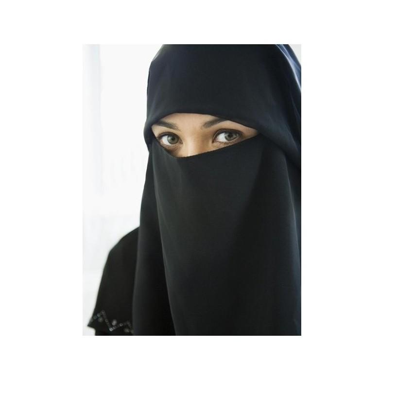 Khadijah Purdah Warna Hitam wanita (2 lapis)