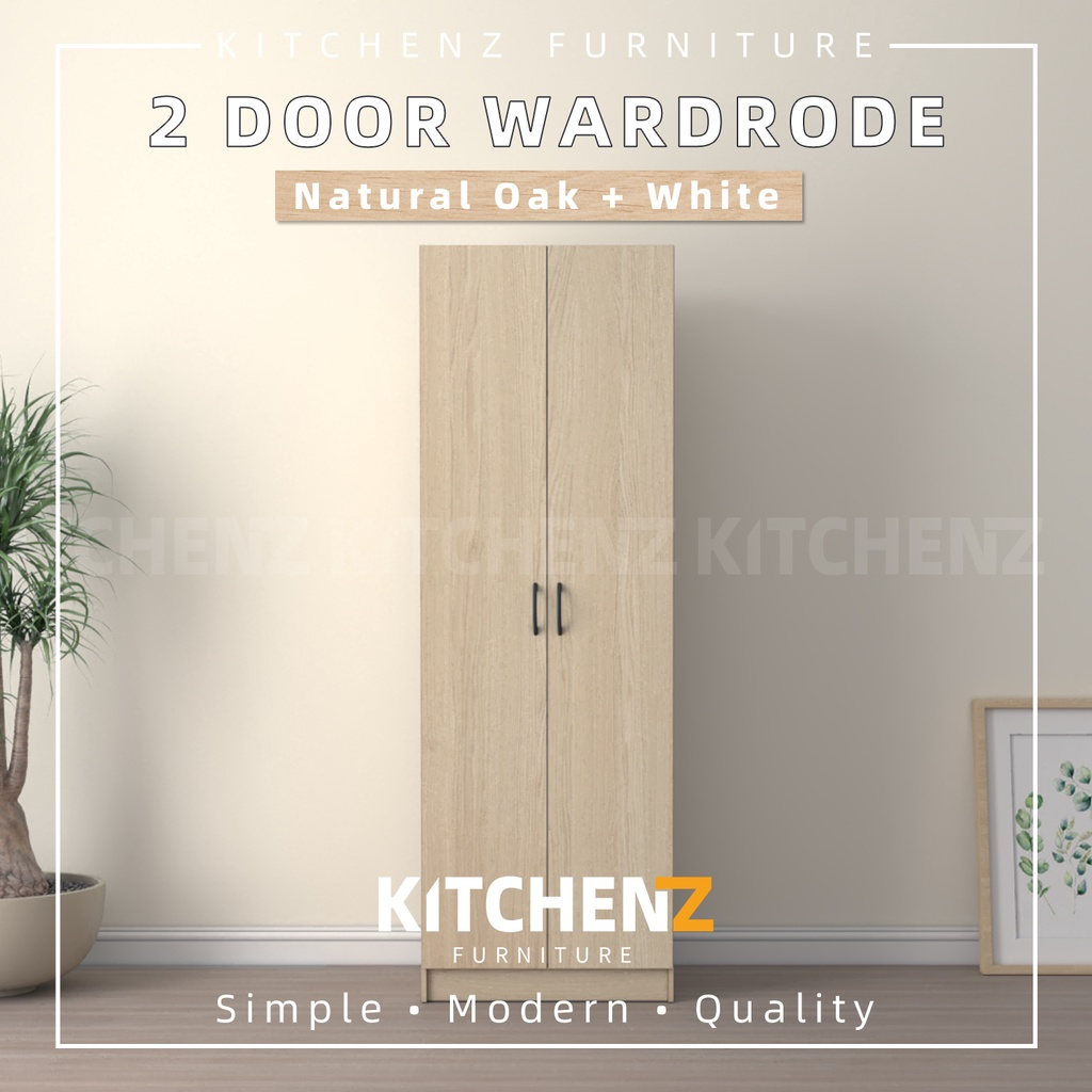 Homez 2 Door Wardrobe Solid Board HMZ-WD-DT-6000 with Large Hanging Space - 2 ft
