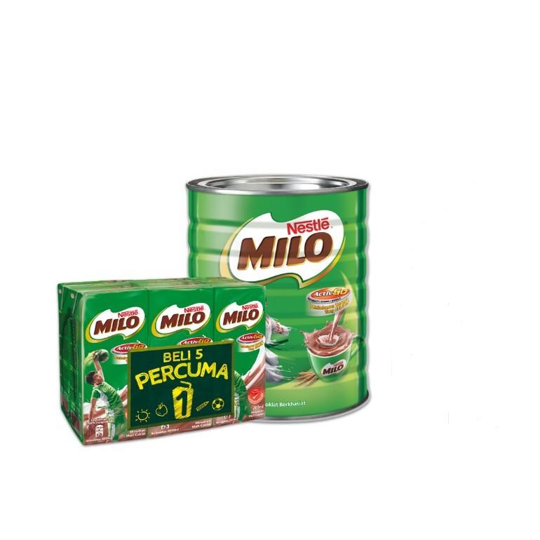 NESTLE MILO ACTIV-GO CHOCOLATE MALT POWDER Tin 1.5kg +  Nestle Milo UHT 200ml 5+1