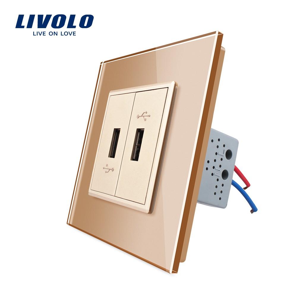 Livolo USB Charger two Gang USB Plug Socket / Wall Outlet ,White ...