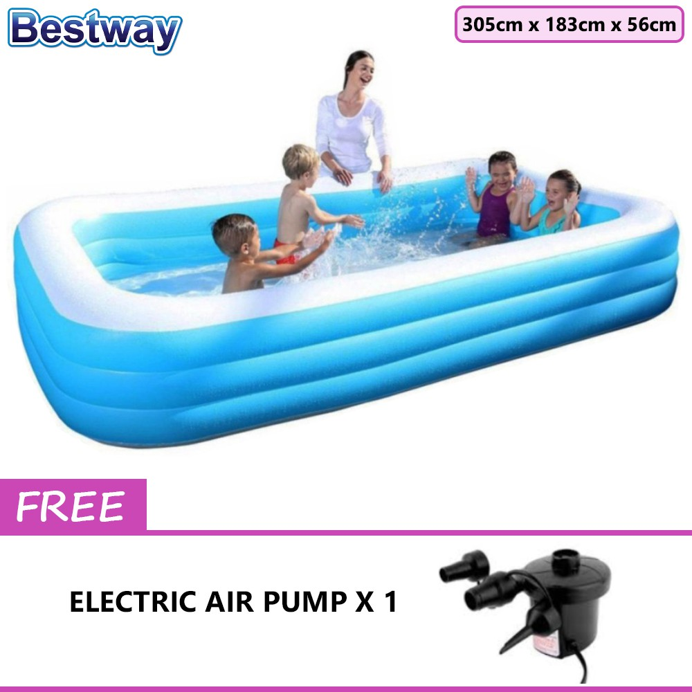 Bestway 3.05 Meter 54009 Extra Large Inflatable Family Swimming Pools 3 Layers | Shopee Malaysia