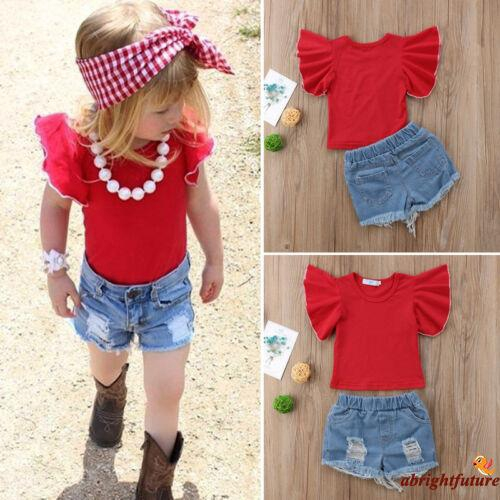 ba741f4f46dc1 ➹-NEW Kids Baby Girls Denim Ruffle Tops T-shirt Short Pants Outfits Clothes