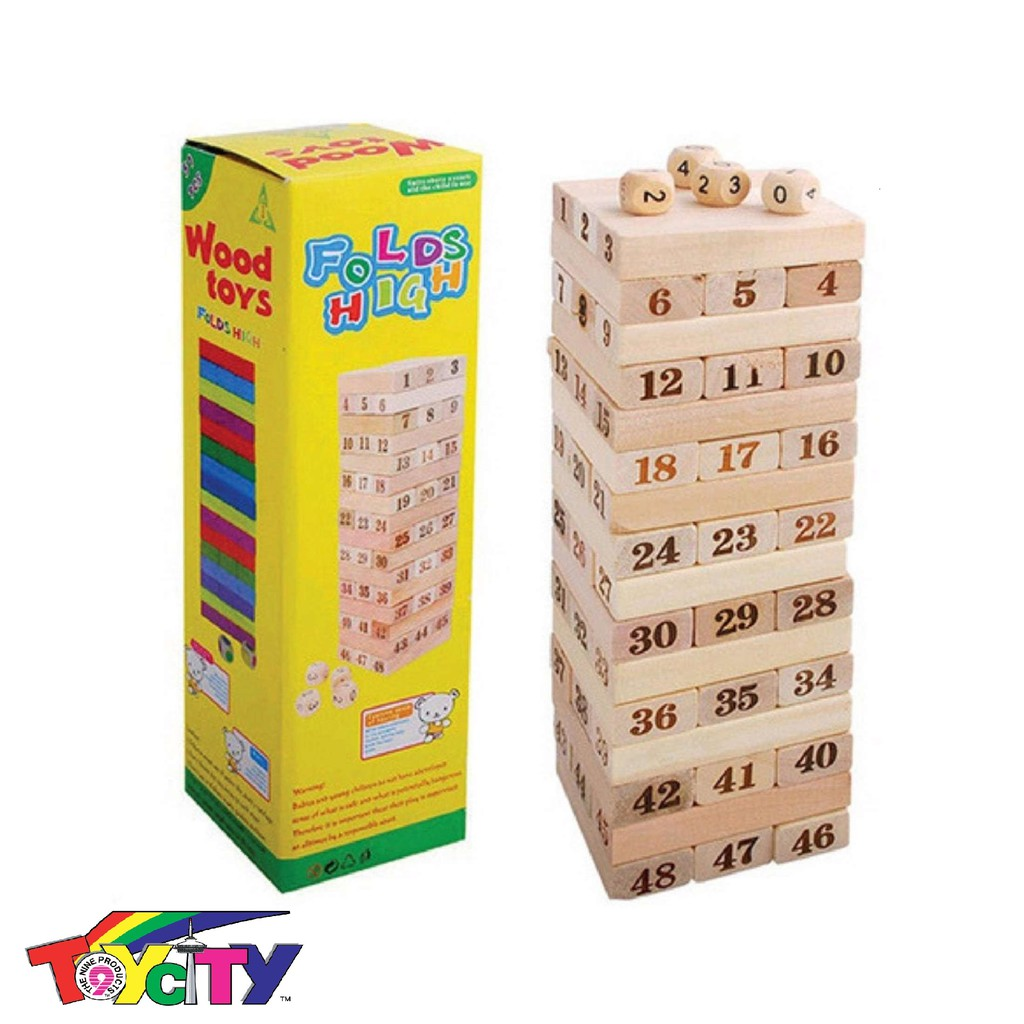 54PCS WOODEN NUMBER STACKING BUILDING BLOCKS TOYS FOR KIDS