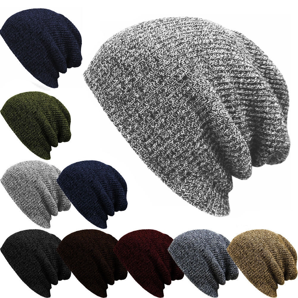 fbbce935b Unisex Fashion Knit Baggy Beanie Winter Hat Ski Slouchy Chic Knitted Cap  Skull