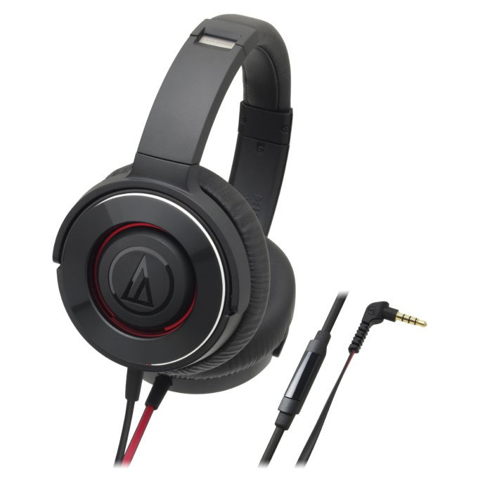 Audio-Technica ATH-WS550IS Solid Bass Over Ear Headphone - Black Red
