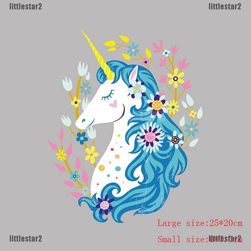 unicorn flower clothes patches heat transfer sticker printing iron appliques FO