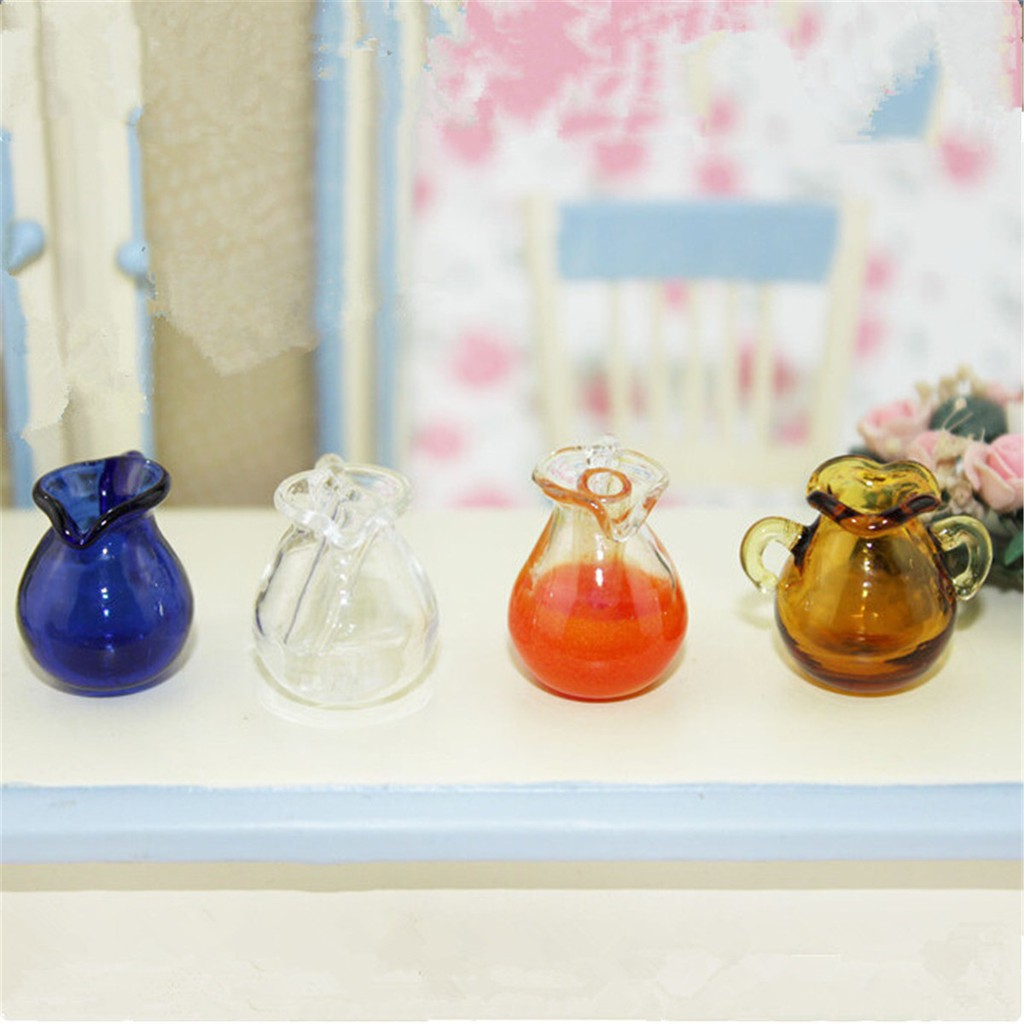 1:12 Miniature Dollhouse  Cute Mini Blue Glass Water Bottle Room DIY Decor