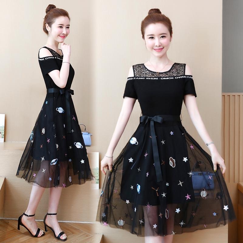 Korean Womens Long Sleeve Evening Party Leisure Oversize A Line Shirt Dress Slim