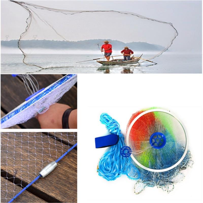 10.5FT Durable Fishing Net Easy Throw Bait Hand Casting Strong Nylon Line+Sinker
