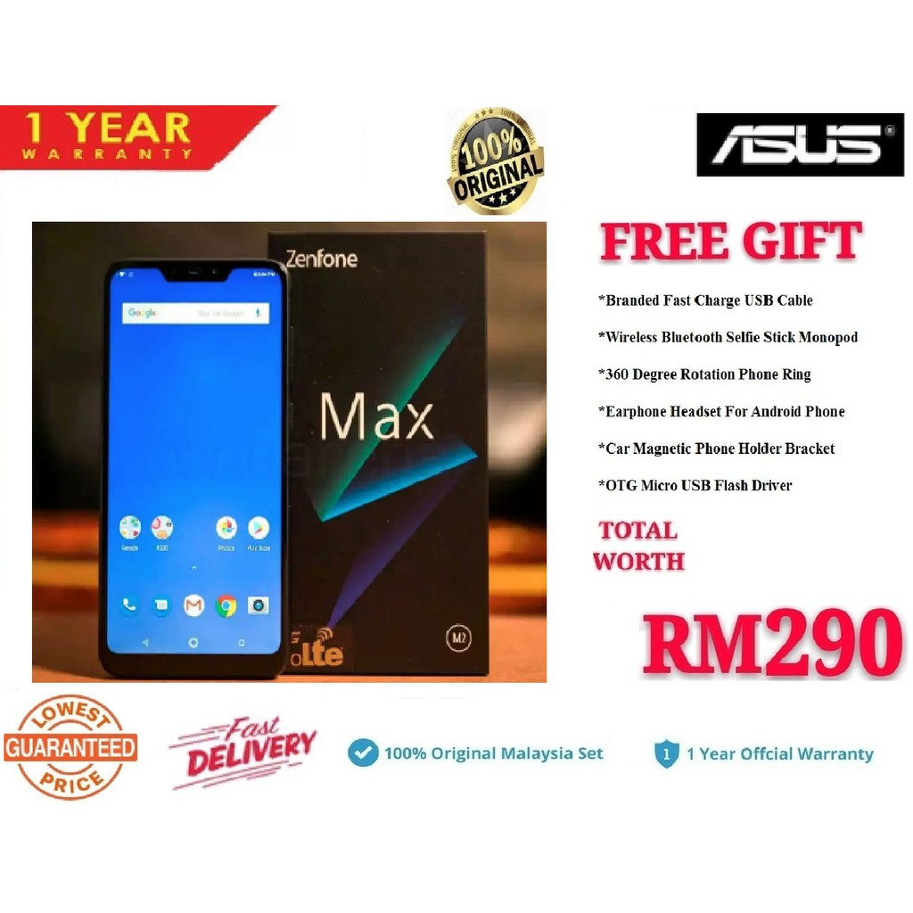 Asus Zenfone Max M2 ZB633KL(32+4GB) Malaysia Set+6 Free Gift Worth RM290