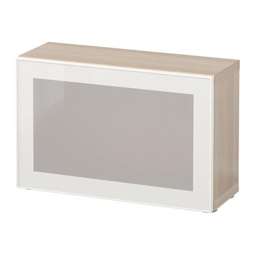 Glass Door White Stained Oak Glassvik White 60x20x38 Cm Ikea Besta Shelf With