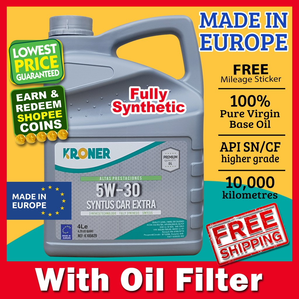 Kroner Syntus Car Extra 5W-30 (5W30) Fully Synthetic Engine oil 4L [+Oil  Filter] [Vtag Mizu Shell Castrol,Liqui Moly]