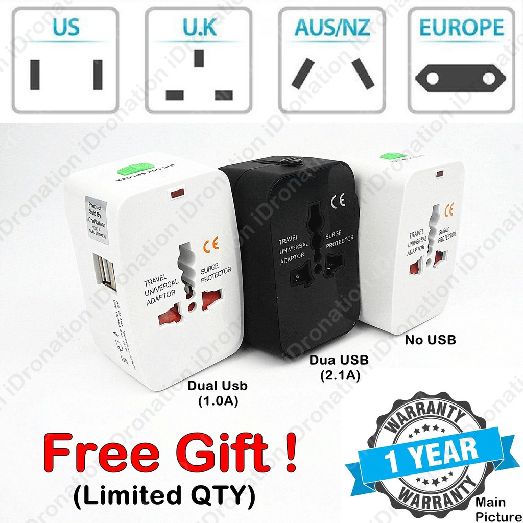 2 1A AU UK US EU International Universal Travel Adapter Fast Charging  Charger All in One Dual 2 USB Port Plug Socket
