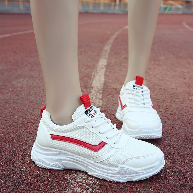 best service 6943a 54403 Net thick bottom sneakers female Korean version Harajuku white casual shoes