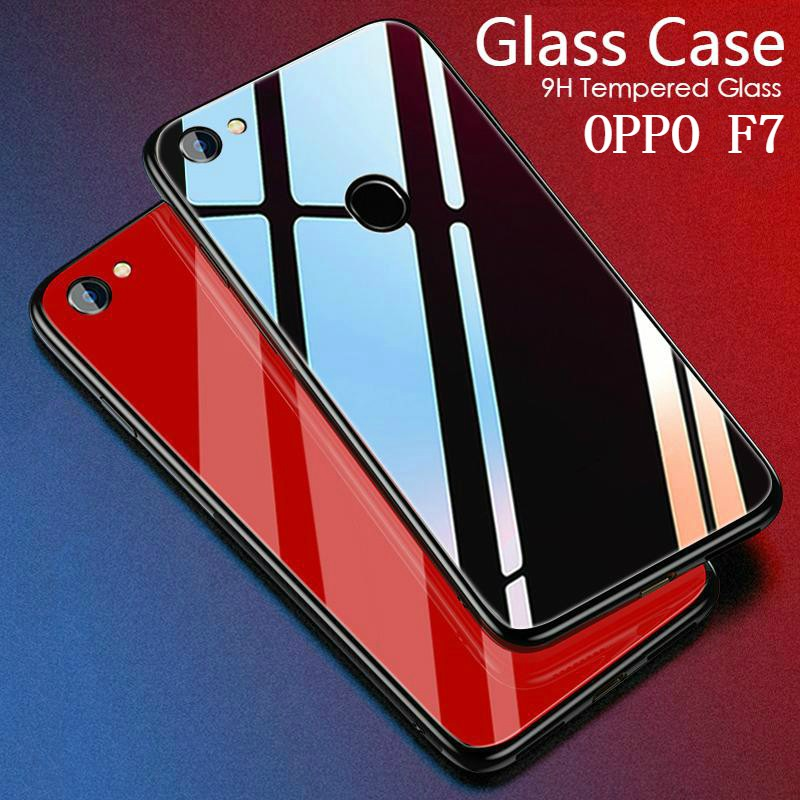 quality design 62bf0 d8f72 OPPO F7 case Tempered Glass Case Soft Frame Luxury Clear Glass cover Housing