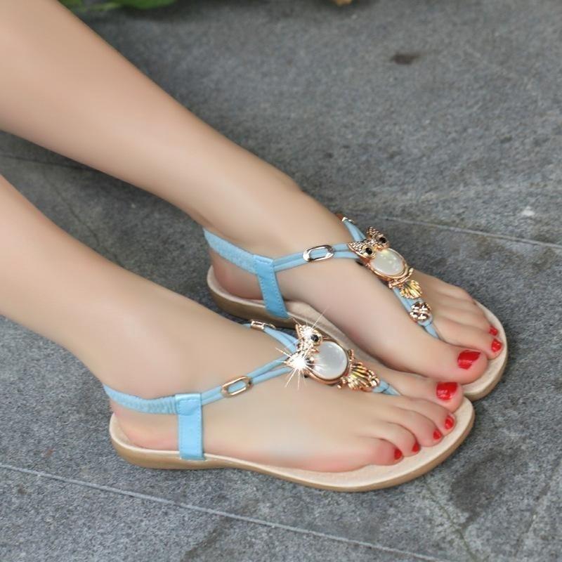 New Fashion Women Thong Sandal Boho Owl Beads Girls Beach Flat Foothold Shoes