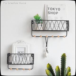 1d353bb2b5 Simple Nordic wrought iron grid wall shelf creative home wall hook ...