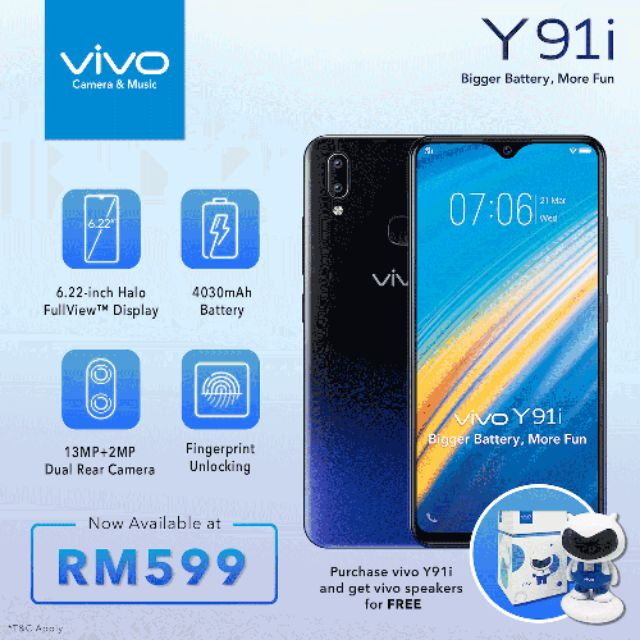 [with Vivo Gift Box]Vivo Y91i [2GB+32GB][Support Finger]
