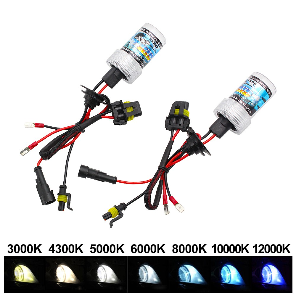 H4-3 connector Xenon HID Headlights with Slim Control Units Kit 35W Ice White Bulbs 6000K
