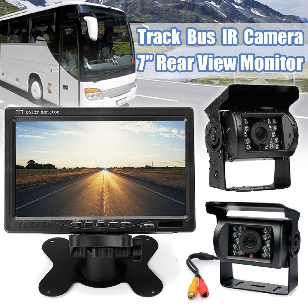 4 Pin CCD 12V-36V Bus Truck 18LED IR Night Vision Car Rear View Reverse Camera