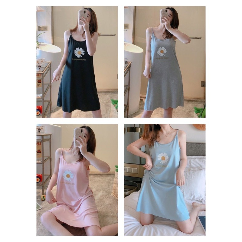 [READY STOCK] WOMEN COTTON SLEEVELESS SLEEPWEAR DRESS WITH PRINTED DESIGN - FREE SIZE (L SIZE CUTTING) (WITHIN 65KG)