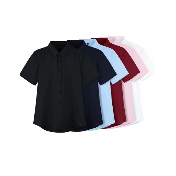 เสื้อเชิ้ตแขนสั้น คอปก สีพื้น สำหรับผู้ชาย